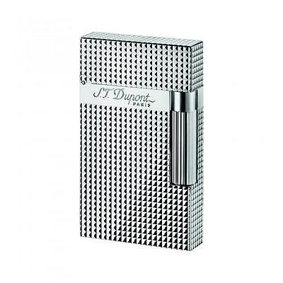 S.T. Dupont Ligne 2 Lighter, Silver Plate Diamond Head, 16184, New In Box