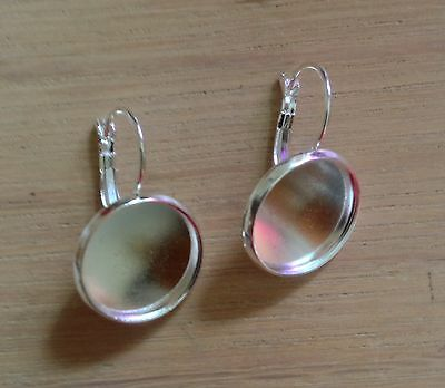 Earrings Lever Back 16mm Round Setting for Photo Jewellery Cabochon Silver Plate