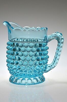 ca. 1880's HOBNAIL with THUMBPRINT BASE by Doyle BLUE Handled Creamer