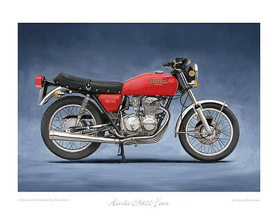 """Blue - Limited Edition Yamaha RD350LC of 50 Art Print 20/""""x16/"""""""