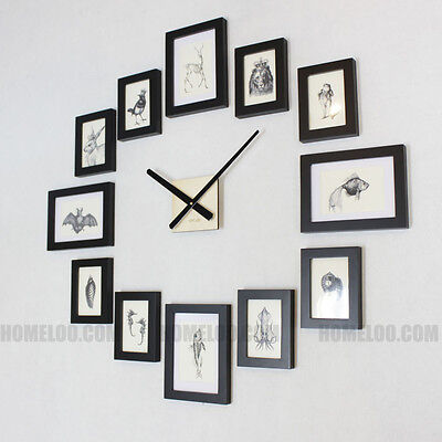 Homeloo Modern 12 Wood Wooden Photo Picture Frame DIY Kit Wall Clock