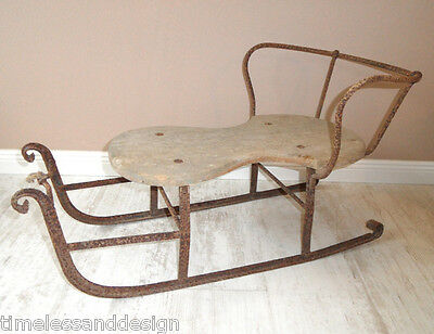 rare & fantastic German 1890´s Baby Invant Snow Sled Wrought Iron Riveted