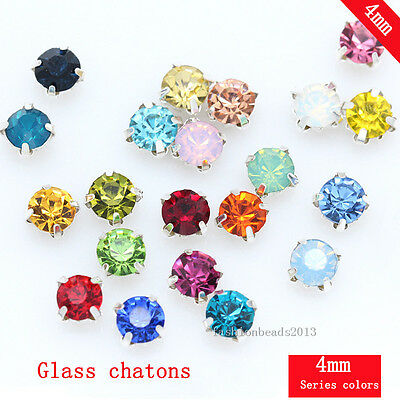 100PCS AA 4mm Sew On Cut Glass Crystals Rhinestones Diamantes beads pick color