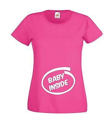 BABY INSIDE pregnancy maternity new born mothers mummys top gift womens T SHIRT