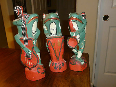 Wood Carved Frogs Playing Instruments - Bass/Saxophone/Drums - set of 3