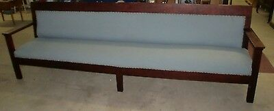 Antique Original Old Finish Mahogany 121.5 Inches Long Bench Seat Solid Built
