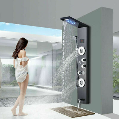 Brushed Nickel Shower Panel Tower LED Waterfall&Rainfall with Massage System Jet