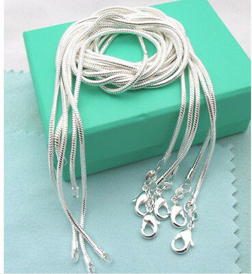 New Fashion Necklace Sterling1 Solid Silver 5Pcs 2mm Snake Chains 16in-24in