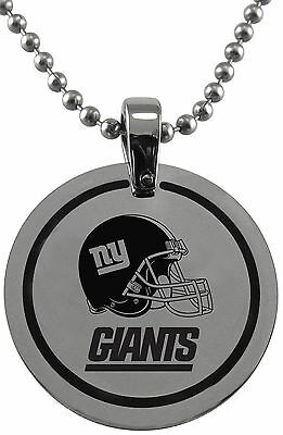 NFL * New York Giants * Stainless Steel * Round Logo Pendant w/ Chain * Jewelry