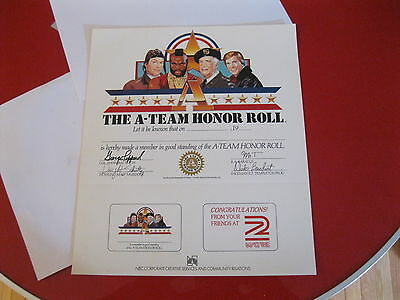 The A-Team Tv Show Honor Roll Award Certificate-Nbc-Wgrz New Old Stock