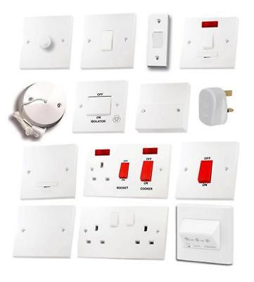 White Light Switches Plug Sockets Wiring Accessories Switch Plate Dimmer Cooker