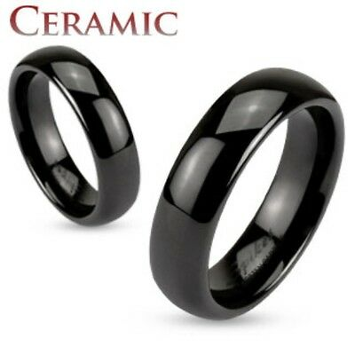 Mens/Womens Black Ceramic Dome 6mm Traditional Wedding Band Ring Size 5-13(TC02)