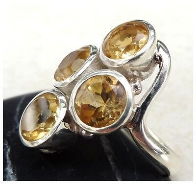 GENUINE 925 Sterling Silver FACETED CITRINE Gemstone RING SIZE R - US 8 3/4