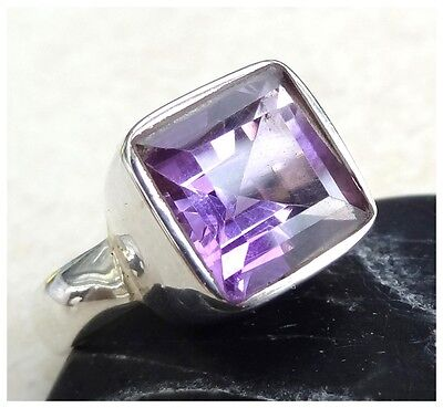 925 Sterling Silver PURPLE AMETHYST Semi Precious GEMSTONE RING SIZE Q - 8 1/4