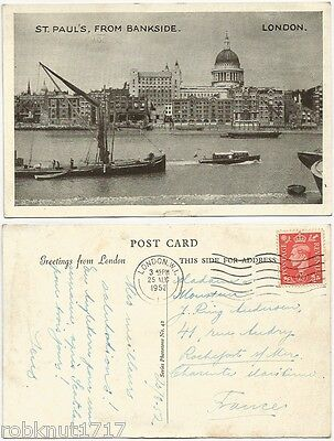 CPSM 1952 postcard River Cathedral St Paul's from Bankside LONDON Londres 149 A