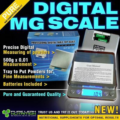 Digital Mg Scale 500G X 0.01 Perfect For Measuring Powders W/th Batteries & Tray