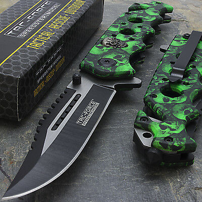 "8.25"" GREEN SKULLS SPRING ASSISTED TACTICAL FOLDING KNIFE Pocket Blade Open"