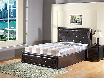 5FT 4FT6 Button Effect Head and Footboard Gas Lift Ottoman Storage Diamante Bed