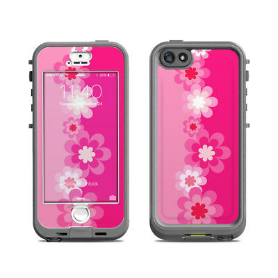 Skin for LifeProof Nuud iPhone 5S - Retro Pink Flowers - Sticker Decal