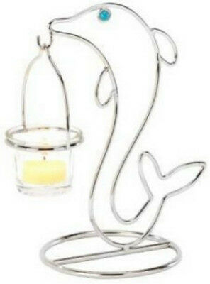 Dolphin metal sculpture with glass votive candle holder
