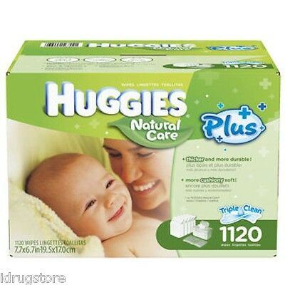 Huggies Natural Care Plus Baby Wipes Fragrance-Free 1120 Count