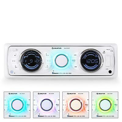 DESIGN AUTORADIO BLUETOOTH RDS AUNA MD-170-BT WEIß USB MP3 WMA PLAYER AUX 4x 75W