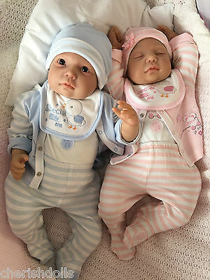 "Reborn Baby Twins 2Dolls My Fake Babies Realistic 22"" Big Newborn Chase & Miley"