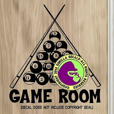 GAME ROOM 8 Ball 9 Pool Billiards Wall LARGE Sign Vinyl Decal Sticker BL