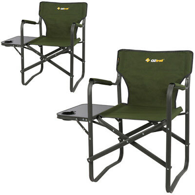 2 x OZTRAIL DIRECTORS CLASSIC (WITH SIDE TABLE) CAMPING Portable CHAIR Picnic