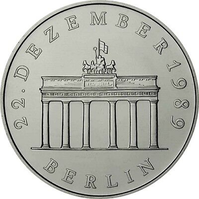 DDR 20 Mark 1990 bfr. Brandenburger Tor in Münzkapsel