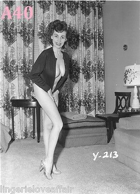 Vtg Nude Print 8X10 PINUP Photo DONNA BUSTY BROWN Early BRUNETTE *U-Choose!*