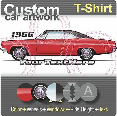 1966 Red Chevy Impala Custom Hot Rod USAT T-Shirt 66 Muscle Car T