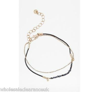 Wholesale Joblot Of 10 French Connection Pearl And Cord Chain Bracelets (Sjfg8)