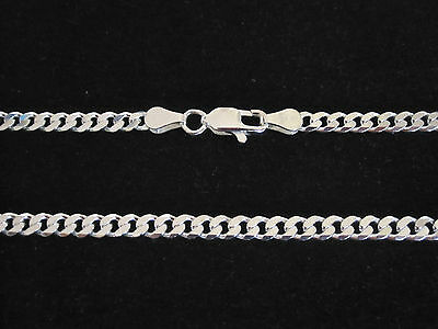 ITALY solid genuine 925 Sterling silver 4mm CURB chain necklace