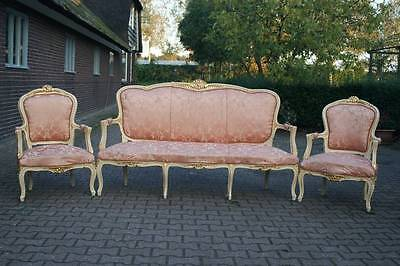 ANTIQUE (19TH CENTURY) FRENCH LIVING ROOM /SOFA SET  WITH 4 CHAIRS