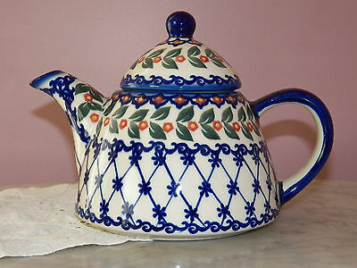 Genuine Hand Made Polish Pottery Bell Shape Tea Pot!  Garden Gate Pattern!