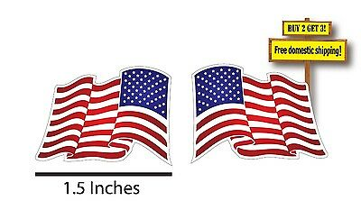 Pair of Waving American Flag Stickers, USA decals 1x1.5 Left & Right Hand FLG19