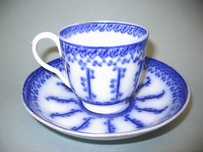 Antique FLOW BLUE Cup and Saucer