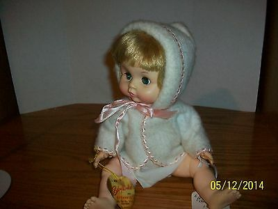 Vintage 1973 Effanbee Baby Winkie 11.5 inch Doll in Tagged Outfit with swing tag