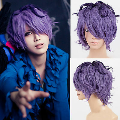 On Sale IB Garry Short Curly Purple Cool Boy Christmas Costume Party Cosplay Wig