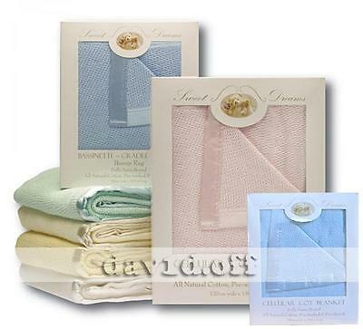New High Quality Sweet Dreams Natural Cotton Cellular Blankets Large Cot Size BL
