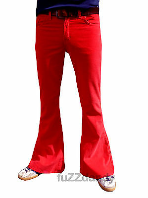 FLARES Red mens bell bottoms Cords jeans hippy vtg indie trousers 60s 70s NEW