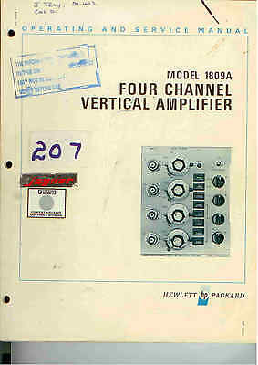 HP/Agilent 1809A Four Channel Vertical Amplifier Ops and Service Manual Loc: 207