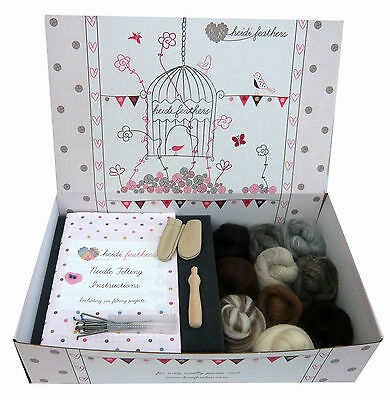 Heidifeathers® Boxed 'Natural Wool' Needle Felting Starter Kit - Finger Guards..