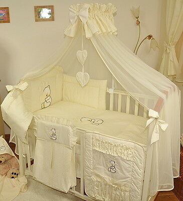 LUXURY 11 pcs BABY BEDDING SET /BUMPER/canopy DRAPE/HOLDER for COT 120 x 60 cm