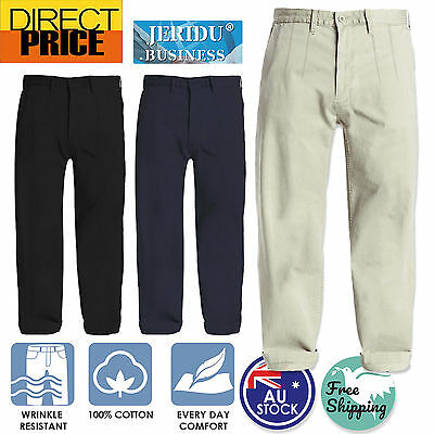 Mens Chino Pants Business Cotton Smart Casual Formal Trousers Black Navy Sand