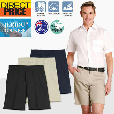 Mens Chino Shorts Cotton Smart Casual Workwear Black Navy Sand Size 77-112