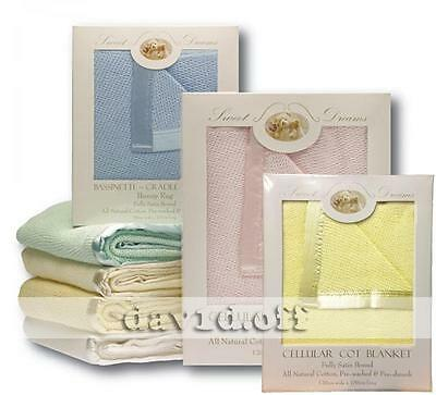 New High Quality Sweet Dreams Natural Cotton Cellular Blankets Large Cot Size YL