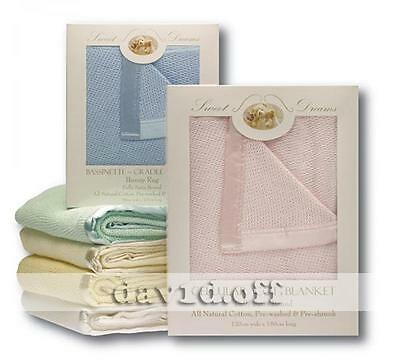 New High Quality Sweet Dreams Natural Cotton Cellular Blankets Large Cot Size PN