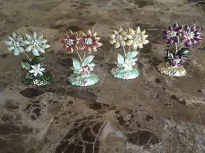 Beautiful Jeweled Flower Place Card Holders 4 in a pack NEW